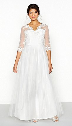 Chi London White Lace Mesh Sophia V Neck Full Length Wedding