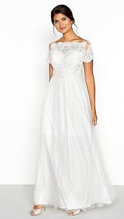 Wedding dresses debenhams chi chi london white lace isabella short sleeve full length wedding dress junglespirit Gallery