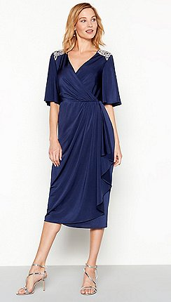 1 Jenny Packham Navy Diamante Jersey Melissa V Neck Short