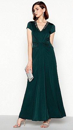 e69765ca348 No. 1 Jenny Packham - Dark green crystal embellished  Marina  maxi dress