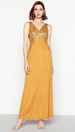 1 Jenny Packham Dark Gold Sequinned Alice Maxi Dress