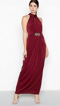 21f7cbf574a7 Debut - Wine red 'Lilian' crystal embellished jersey maxi dress