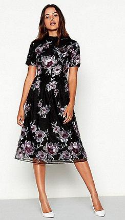87a1bcb805 Vila - Black floral embroidered mesh high neck short sleeve midi dress