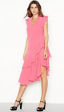 YAS - Pink chiffon  Yasflamina  midi dress 617d4bf0e7