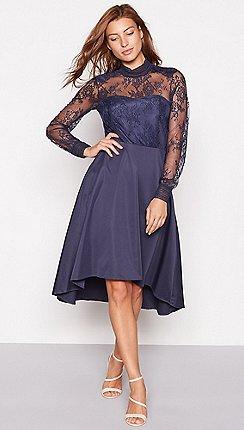 6c23b49821c8 YAS - Dark blue lace 'Yaspretty' high neck long sleeve occasion dress