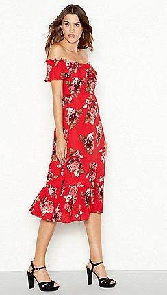 Yas Red Fl Print Yasroma Midi Summer Dress