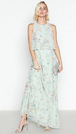 Debut - Pale Green Floral Print  Darcy  Chiffon Maxi Dress b16a7a9e6a