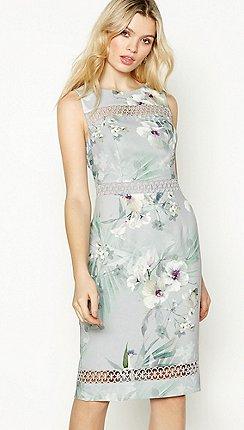 No. 1 Jenny Packham - Silver Floral Print  Hibiscus  Knee Length Pencil  Dress 426f7840e8