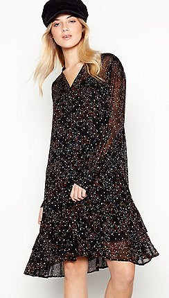 e9f5dcf9cf Nine by Savannah Miller - Black Ditsy Print Chiffon Mini Dress