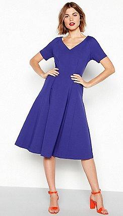J by Jasper Conran - Blue seamed ponte short sleeve midi dress 9b307efc1a