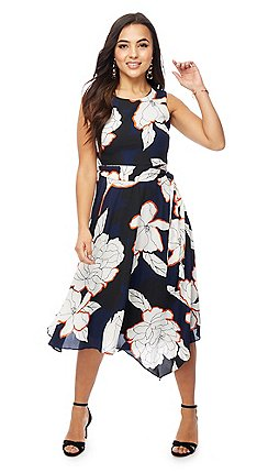 The Collection Pee Navy Fl Print Midi Dress