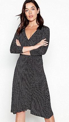 1bbc882667c6d Principles Petite - Black Spot Print Midi Petite Wrap Dress