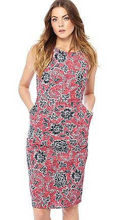 7f7ed180fc30 Maine New England - Pink floral print round neck knee length dress