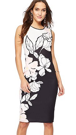 Black dresses women debenhams the collection black floral print scuba midi dress mightylinksfo