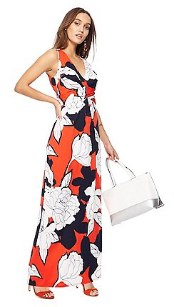 The Collection Dark Orange Fl Print V Neck Maxi Dress
