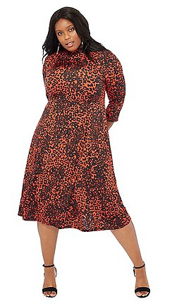 The Collection - Orange leopard print knee length fit and flare plus size  dress 3abb07c76