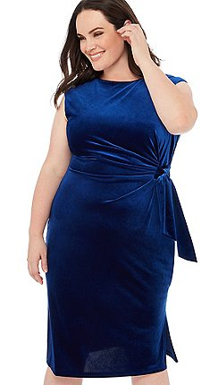 409ee7fffc42 The Collection - Blue velvet tie front sleeveless plus size midi dress