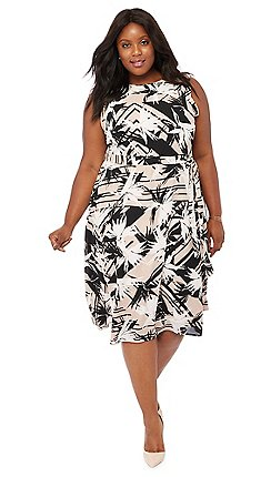 8f483875c95c1 The Collection - Natural floral print midi plus size prom dress