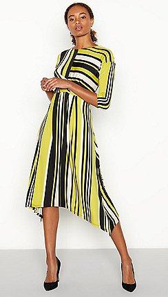 The Collection - Olive Stripe Print Twist Front Midi Dress 9fef32e5f8c1
