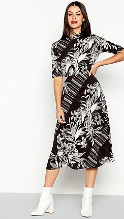 The Collection - Black Mixed Print Midi Dress ac9e7c49790b