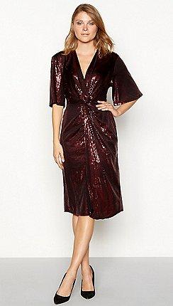 Principles Dark Red Sequin V Neck Midi Dress