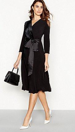 f92818ce0 Principles - Black velvet satin knee length wrap dress