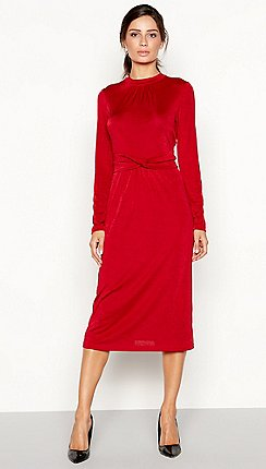 078cba99d27 Principles - Red twist front slinky jersey long sleeve midi dress