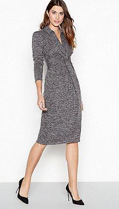 Principles - Grey marl print twist front midi dress a907079834a6