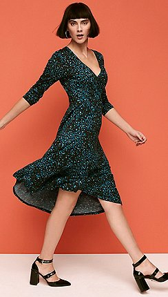 7257e3ab228 Principles - Green Leopard Print Wrap and Roll Effect Knee Length Dress