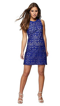 Principles Pee Blue Lace Mini Shift Dress