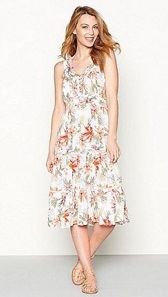 360ea13ef2c Mantaray - Bright orange tropical floral print V-neck midi dress