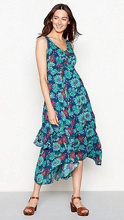b649716a4e6ac Mantaray - Navy floral print V-neck high low dress