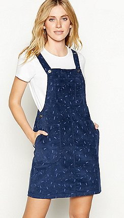 8d8d8d0bf49c3 Mantaray - Navy leaf print cotton corduroy mini pinafore dress