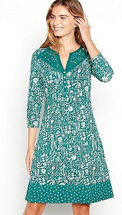 Mantaray Green Fl Print Cotton Knee Length Dress