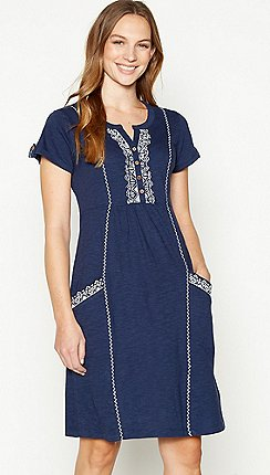 409ed7ae4a0 Mantaray - Navy Embroidered Cotton Knee Length Skater Dress