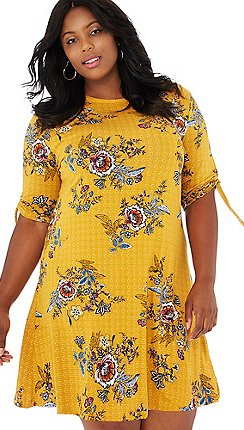 8e1a312b1a98 The Collection - Yellow floral print round neck short sleeve mini plus size  dress