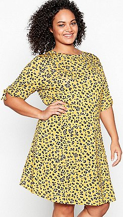 811ee9b060 Principles - Yellow Leopard Print Jersey Knee Length Plus Size Dress
