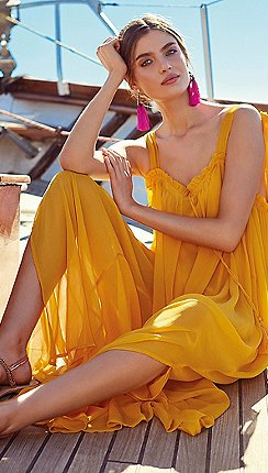 Mw By Matthew Williamson Orange Crepe Maxi Dress