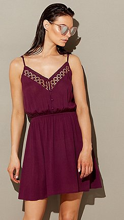 Beach Collection Purple Embroidered Cheesecloth V Neck Mini Dress