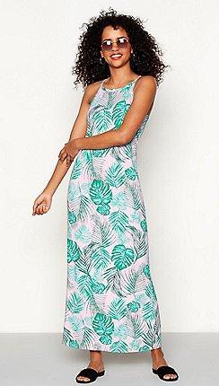 64e33ec9d774 Red Herring - Pink palm leaf print  Margarita  maxi dress