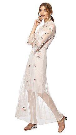 08272986ec1 Red Herring - Light pink floral embroidered high neck full length dress
