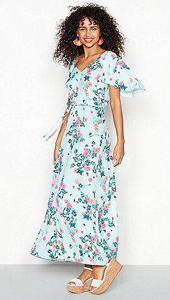 dd0fe14c472 Red Herring - Light blue floral print V-neck maxi dress