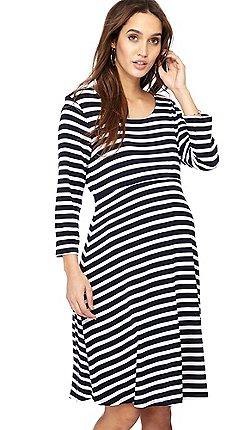 Red Herring Maternity - Navy stripe print knee length maternity skater dress 86b5d7df9b
