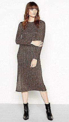 fb1a776817 Red Herring - Multicoloured metallic stripe long sleeves midi dress