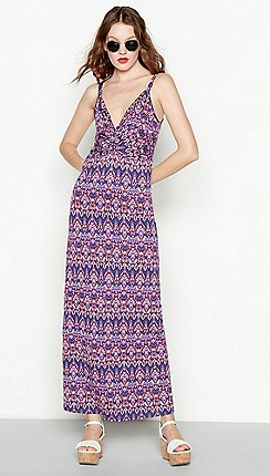 580a6c9e7b1 Red Herring - Purple aztec print twist front full length maxi dress