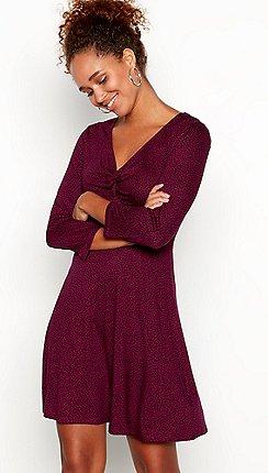 Red Herring Plum Leopard Print Mini Length Skater Dress
