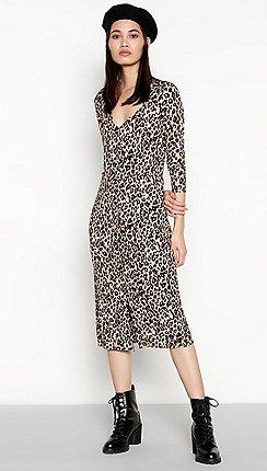 8951b0caed4d Red Herring - Brown animal print button through midi dress