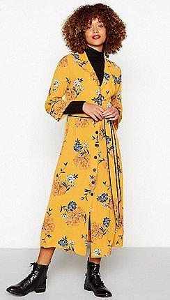 Yellow dresses debenhams red herring dark yellow floral print crepe midi dress mightylinksfo