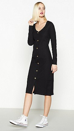 Red Herring - Black Ribbed Button Through Midi Dress 18fb9eb320ea