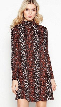Red Herring - Brown snake print roll neck knee length swing dress f3f22be9ee